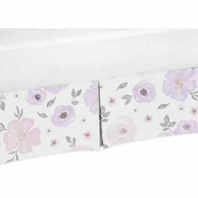 Watercolor Floral Lavender and Grey Collection Crib Bed Skirt