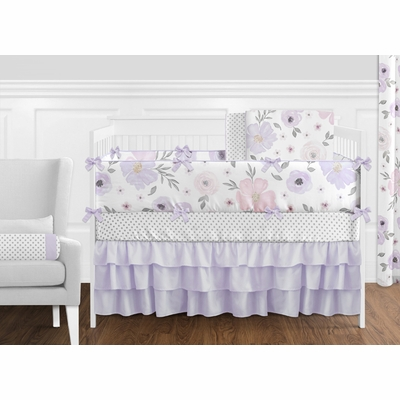 Watercolor Floral Lavender and Grey Collection Crib Bedding