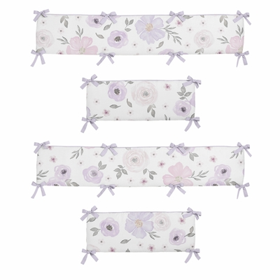 Watercolor Floral Lavender and Grey Collection Crib Bumper Pad