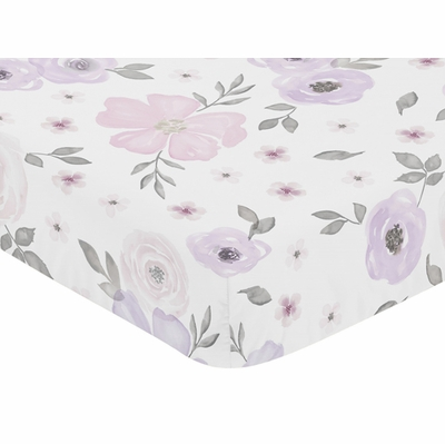 Watercolor Floral Lavender and Grey Collection Crib Sheet - Flower Print
