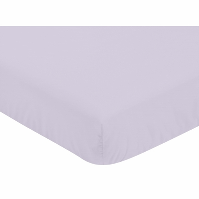 Watercolor Floral Lavender and Grey Collection Crib Sheet - Solid Lavender