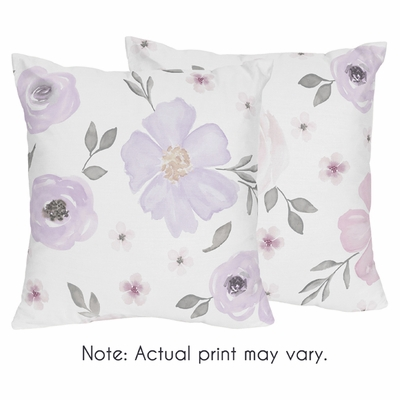 Watercolor Floral Lavender and Grey Collection Decorative Accent Throw Pillows - Set of 2