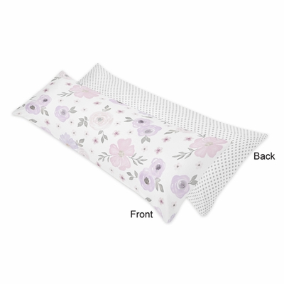 Watercolor Floral Lavender and Grey Collection Full Length Body Pillow Cover