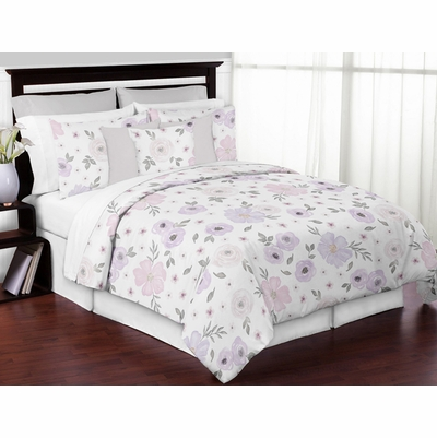 Watercolor Floral Lavender and Grey Collection Full/Queen Bedding