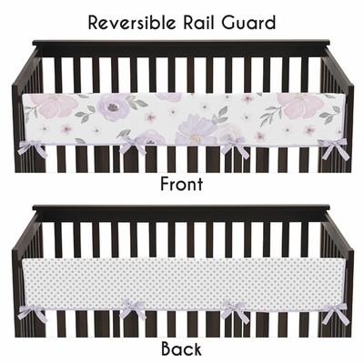 Watercolor Floral Lavender and Grey Collection Long Rail Guard Cover