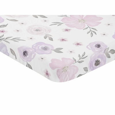 Watercolor Floral Lavender and Grey Collection Mini Crib Sheet - Flower Print