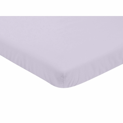 Watercolor Floral Lavender and Grey Collection Mini Crib Sheet - Solid Lavender
