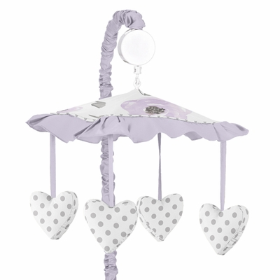 Watercolor Floral Lavender and Grey Collection Musical Mobile