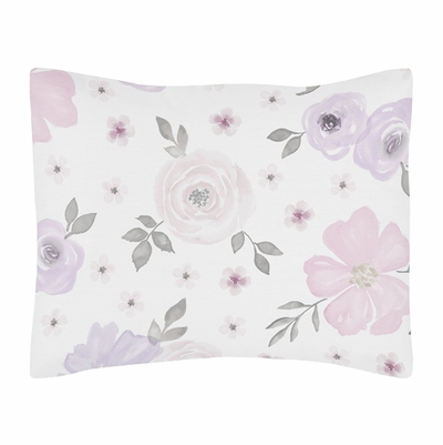 Watercolor Floral Lavender and Grey Collection Pillow Sham