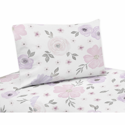 Watercolor Floral Lavender and Grey Collection Queen Sheet Set