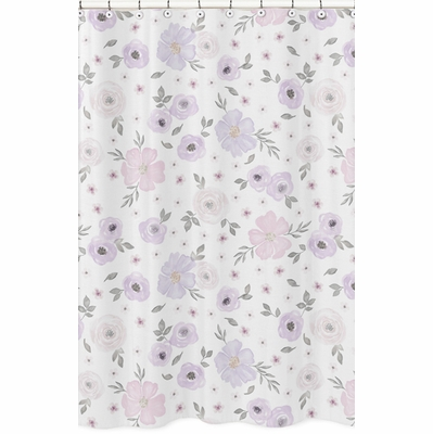 Watercolor Floral Lavender and Grey Collection Shower Curtain