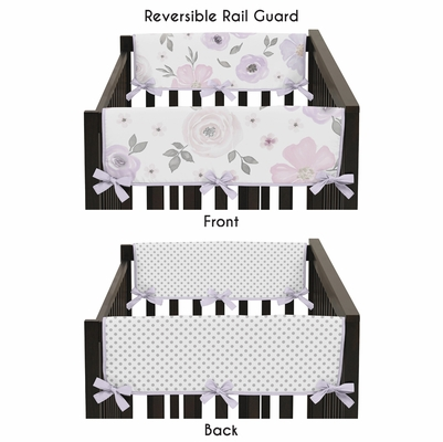 Watercolor Floral Lavender and Grey Collection Side Rail Guard Covers - Set of 2