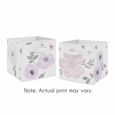 Watercolor Floral Lavender and Grey Collection Storage Bins