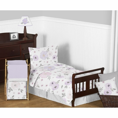 Watercolor Floral Lavender and Grey Collection Toddler Bedding