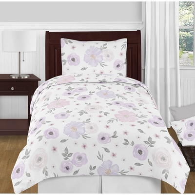 Watercolor Floral Lavender and Grey Collection Twin Bedding