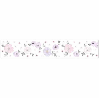 Watercolor Floral Lavender and Grey Collection Wallpaper Border