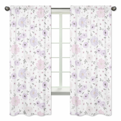 Watercolor Floral Lavender and Grey Collection Window Panels - Set of 2