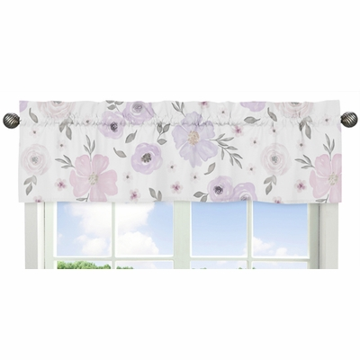 Watercolor Floral Lavender and Grey Collection Window Valance