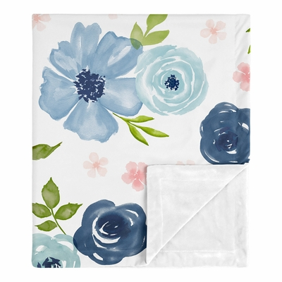 Watercolor Floral Navy Blue and Pink Collection Baby Blanket