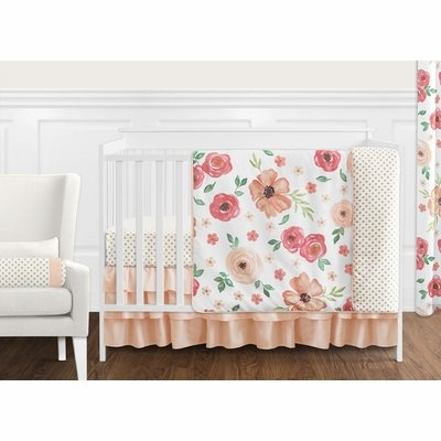 Watercolor Floral Peach and Green Collection 11 Piece Bumperless Crib Bedding
