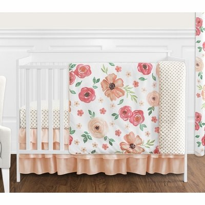 Watercolor Floral Peach and Green Collection 4 Piece Bumperless Crib Bedding