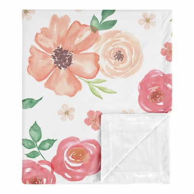 Watercolor Floral Peach and Green Collection Baby Blanket