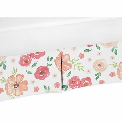 Watercolor Floral Peach and Green Collection Crib Bed Skirt