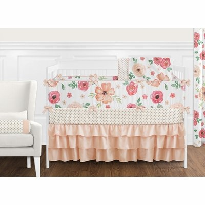 Watercolor Floral Peach and Green Collection Crib Bedding