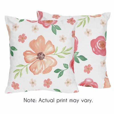 Watercolor Floral Peach and Green Collection Decorative Accent Throw Pillows - Set of 2