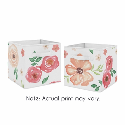 Watercolor Floral Peach and Green Collection Foldable Fabric Storage Bins - Set of 2