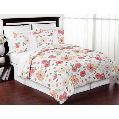 Watercolor Floral Peach and Green Collection Full/Queen Bedding