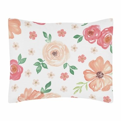 Watercolor Floral Peach and Green Collection Pillow Sham