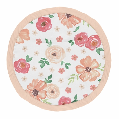 Watercolor Floral Peach and Green Collection Playmat
