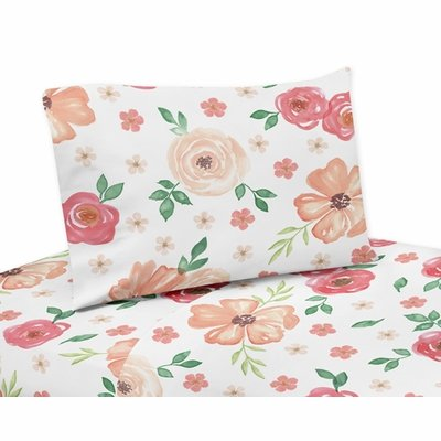 Watercolor Floral Peach and Green Collection Queen Sheet Set