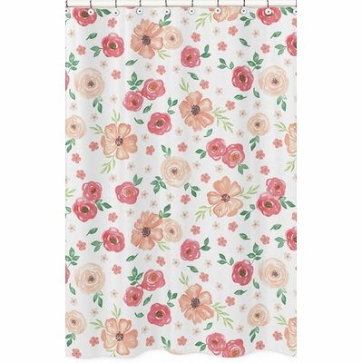 Watercolor Floral Peach and Green Collection Shower Curtain