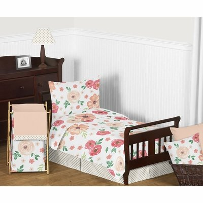Watercolor Floral Peach and Green Collection Toddler Bedding