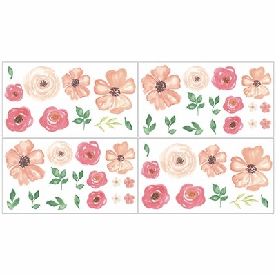 Watercolor Floral Peach and Green Collection Peel and Stick Wall Decal Stickers - Set of 4 Sheets