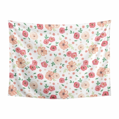 Watercolor Floral Peach and Green Collection Wall Tapestry - 60in. x 80in.