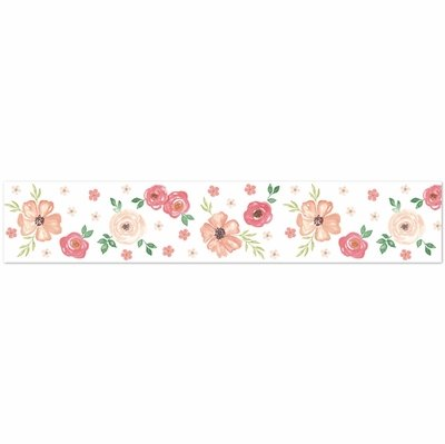 Watercolor Floral Peach and Green Collection Wallpaper Border