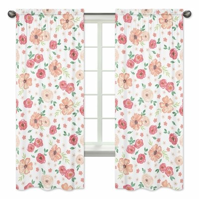 Watercolor Floral Peach and Green Collection Window Panels - Set of 2