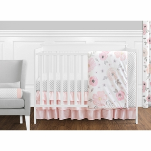 Watercolor Floral Pink And Grey Crib Bedding Collection
