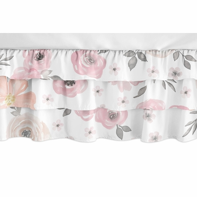 Watercolor Floral Pink and Grey Collection 3 Tiered Crib Bed Skirt