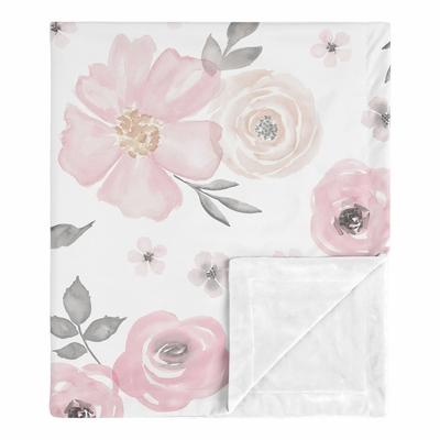 Watercolor Floral Pink and Grey Collection Baby Blanket
