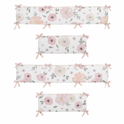 Watercolor Floral Pink and Grey Collection Crib Bumper Pad