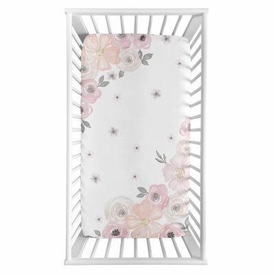Watercolor Floral Pink and Grey Collection Crib Sheet - Photo Op Print