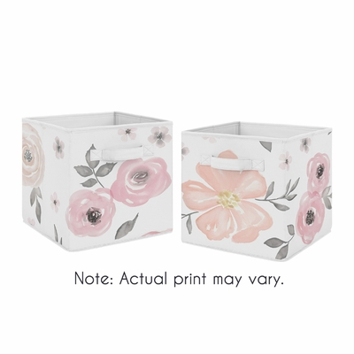Watercolor Floral Pink and Grey Collection Foldable Fabric Storage Bins - Set of 2