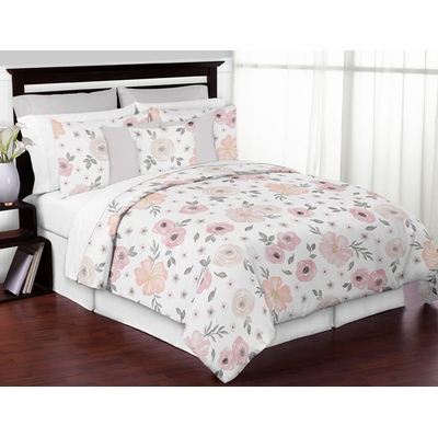 Watercolor Floral Pink and Grey Collection King Bedding