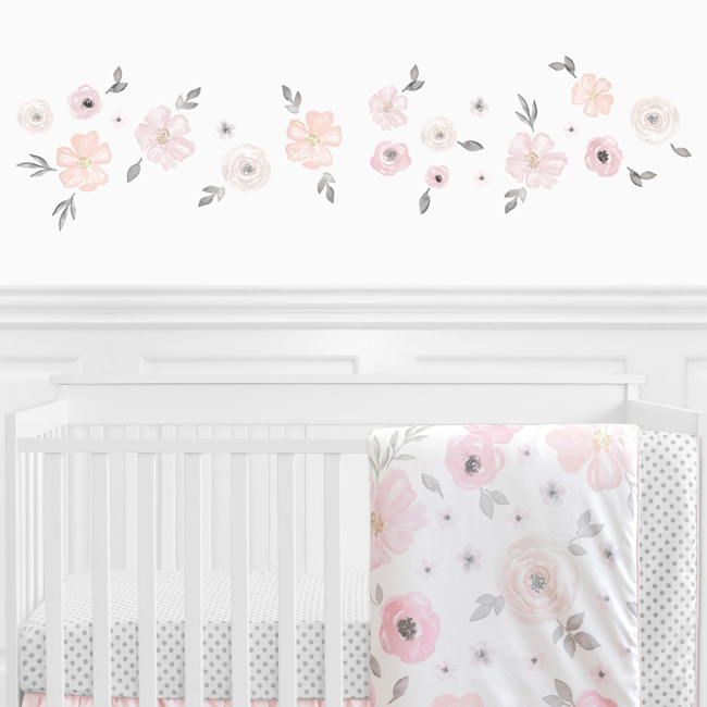 Watercolor Floral Pink And Grey Collection Peel And Stick Wall Decal Stickers Set Of 4 Sheets