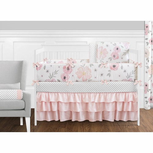 Watercolor Floral Crib Sheet Changing Pad Cover Crib Bedding Girl Boppy Pillow Cover Hydrangea Baby Bedding