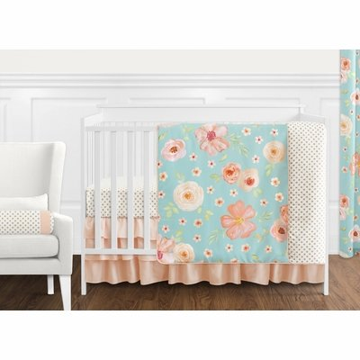 Watercolor Floral Turquoise and Peach Collection 11 Piece Bumperless Crib Bedding